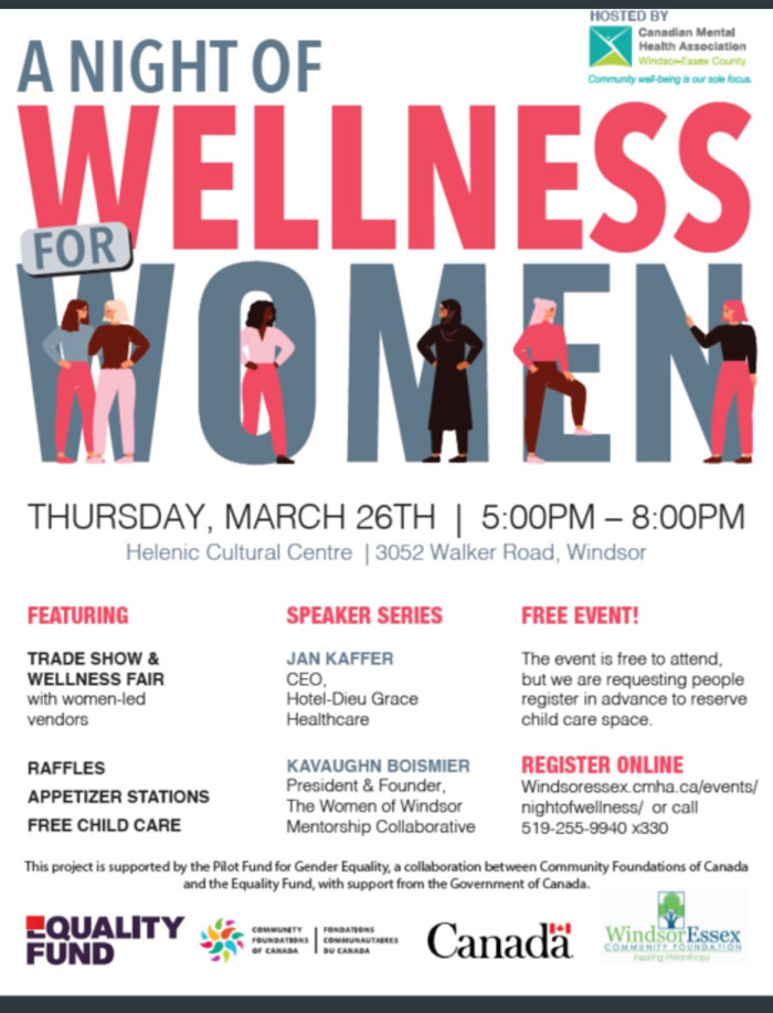 A Night of Wellness for Women Poster - click to learn more at the Canadian Mental Health Association Windsor-Essex County website