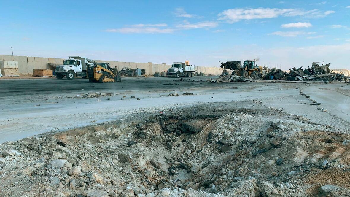 A crater at Ain al-Asad airbase in Anbar, Iraq